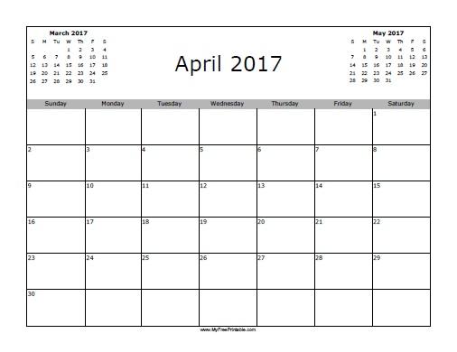 Free Printable April 2017 Calendar