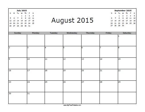 Free Printable August 2015 Calendar