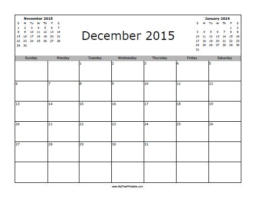 Free Printable December 2015 Calendar