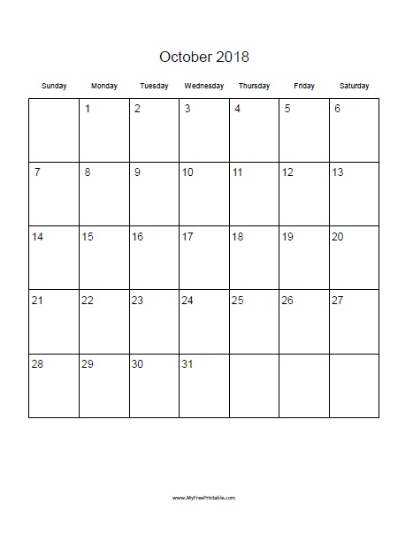 Free Printable October 2018 Blank Calendar