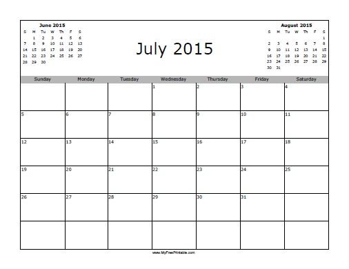 Free Printable July 2015 Calendar
