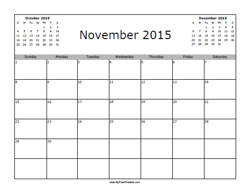 Free Printable November 2015 Calendar