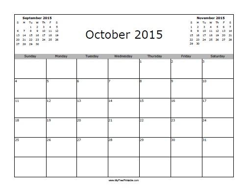 Free Printable October 2015 Calendar
