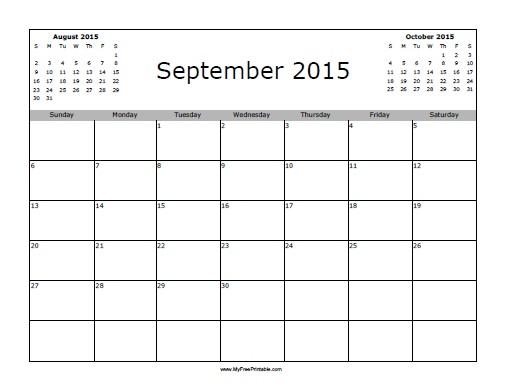 Free Printable September 2015 Calendar