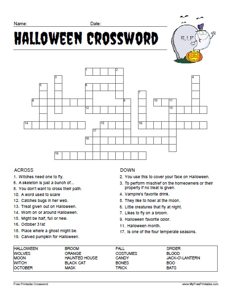 Free Printable Halloween Crossword Puzzle