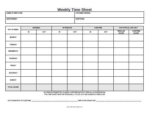 Weekly Time Sheet Form - Free Printable - Myfreeprintable.Com