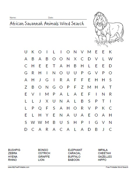 Free Printable African Savannah Animals Word Search