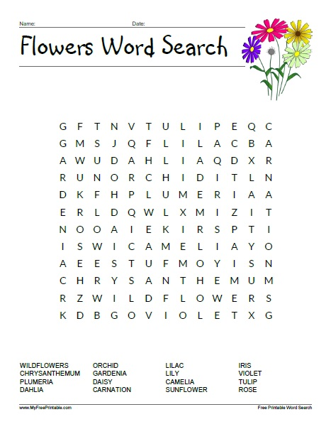 Free Printable Flowers Word Search