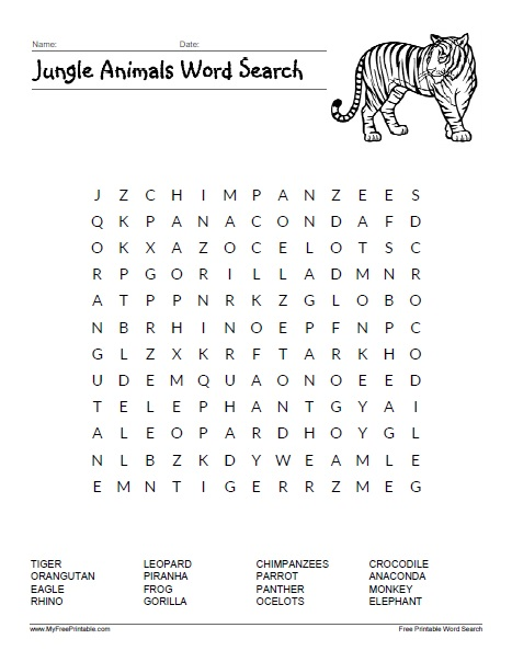 image regarding Animals Word Search Printable referred to as Jungle Pets Phrase Glimpse - Free of charge Printable
